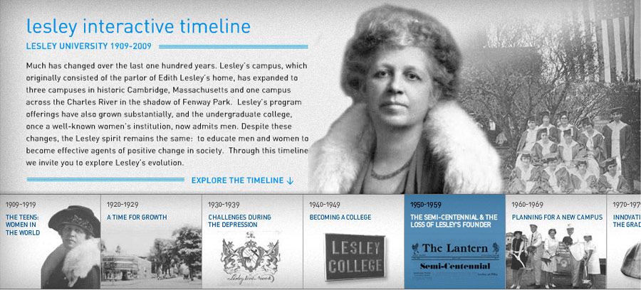 lesley centennial timeline screen shot